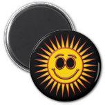 SMILEY SUN 2 INCH ROUND MAGNET