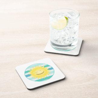 Smiley Sun: Blue and Greem Stripes Coaster Set