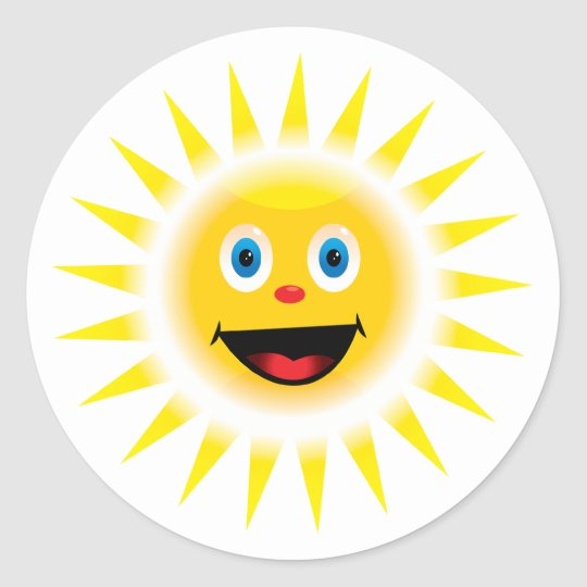 Smiley Sun Classic Round Sticker