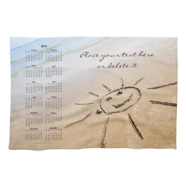 Smiley Sun On The Beach 2018 Hand Towel