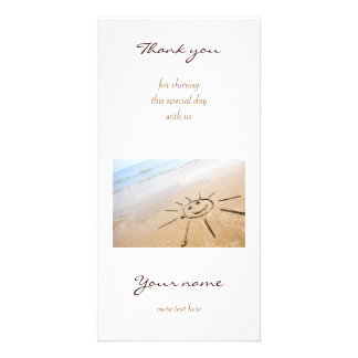 Smiley Sun On The Beach Card