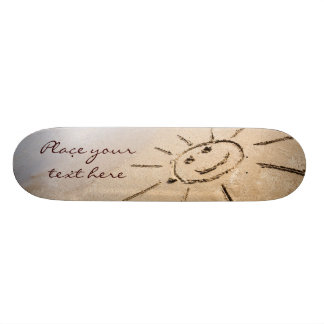 Smiley Sun On The Beach Custom Skate Board