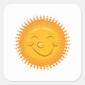 Smiley Sun Square Sticker