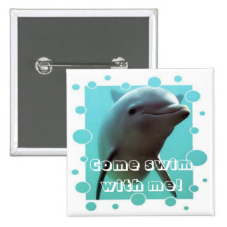 Smiley the Dolphin! 2 Inch Square Button
