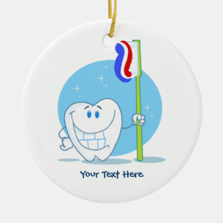 Smiley Tooth (customizable) Double-Sided Ceramic Round Christmas Ornament