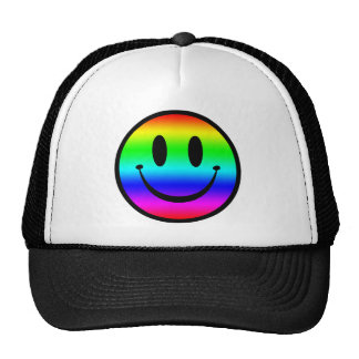 Smiley V1 del arco iris Gorra
