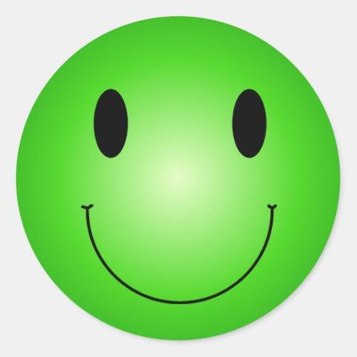 Smiley verde etiqueta redonda