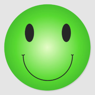Smiley verde pegatina redonda