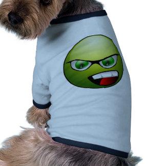 Smiley verde ropa para mascota