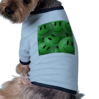 Smiley verde camisetas de perrito