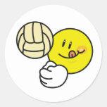 Smiley Volleyball Round Sticker