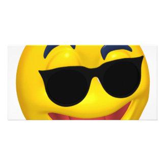 smiley wearing dark sun glasses card