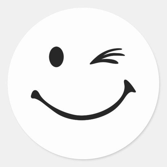 Smiley wink classic round sticker   Zazzle.com