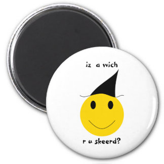 Smiley witch with LOLspeak Magnet