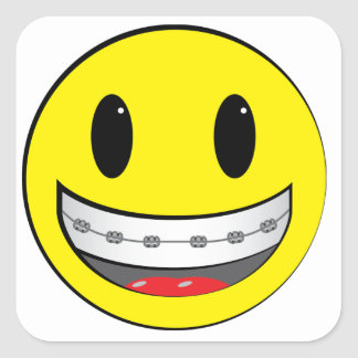 Smiley with braces square sticker