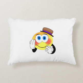 Smiley with hat cartoon accent pillow