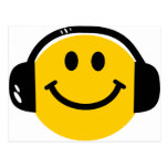 Smiley with headphones post card