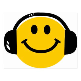 Smiley with headphones postcard
