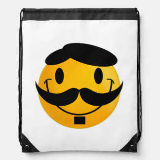 Smiley with moustache cartoon drawstring backpack