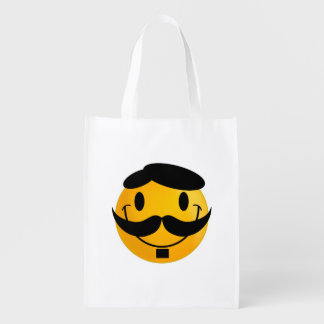 Smiley with moustache cartoon reusable grocery bags