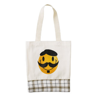 Smiley with moustache cartoon zazzle HEART tote bag