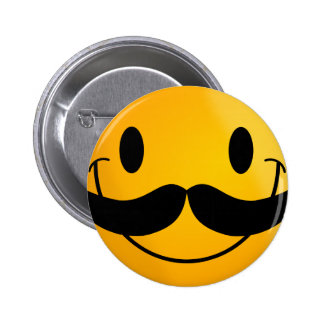 Smiley with Mustache 2 Inch Round Button