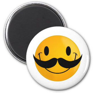 Smiley with Mustache 2 Inch Round Magnet