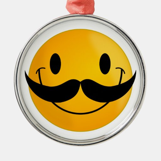 Smiley with Mustache Christmas Ornament
