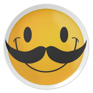 Smiley with Mustache Melamine Plate