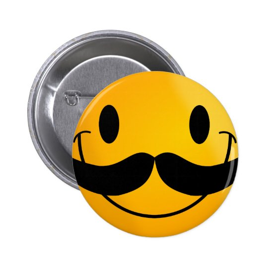 Smiley with Mustache Pinback Button