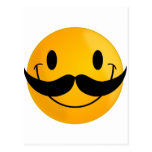 Smiley with Mustache Post Cards