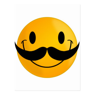 Smiley with Mustache Postcard
