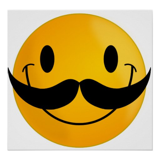 Smiley with Mustache Poster