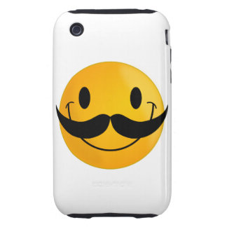Smiley with Mustache Tough iPhone 3 Case