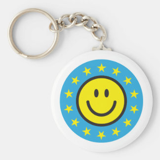 Smiley with yellow stars - blue basic round button keychain