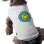 Smiley with yellow stars - blue doggie t shirt