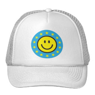 Smiley with yellow stars - blue trucker hat