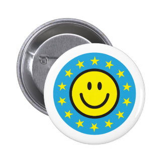 Smiley with yellow stars - blue pinback button