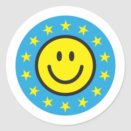 Smiley with yellow stars - blue round sticker
