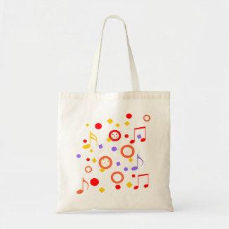 Smiley y notas coloridos de la música bolsa tela barata