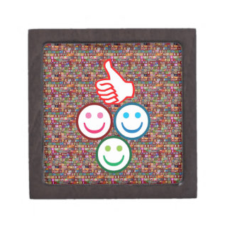 SMILEY y pulgares PARA ARRIBA: CARAS FELICES Cajas De Recuerdo De Calidad