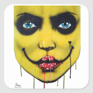 Smiley Yellow Harlequin,  Collectable Square Sticker