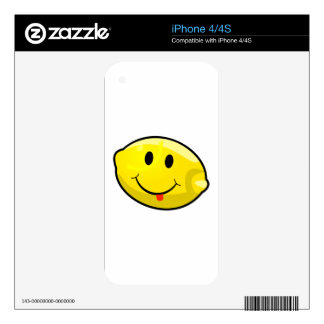 Smiley Yellow Lemon Tongue Skins For The iPhone 4S