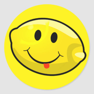 Smiley Yellow Lemon Tongue Classic Round Sticker