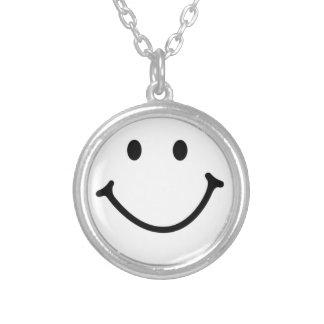 smileyface round pendant necklace