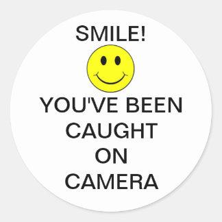 SmileyFaceBurglarCam Pegatinas Redondas