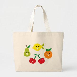 SmileyFruitMix4 Large Tote Bag