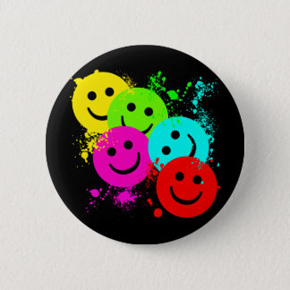 SMILEYS AND PAINT SPLATTER PINBACK BUTTON