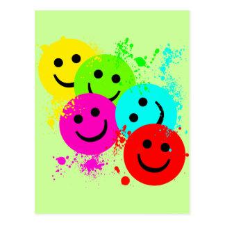 SMILEYS AND PAINT SPLATTER POSTCARD