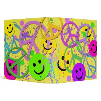SMILEYS AND PEACE SIGNS BINDER binder